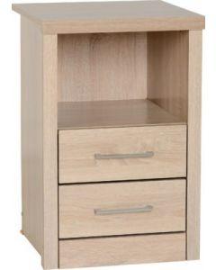 Alaska 2 Drawer 1 Shelf Bedside Cabinet Oak