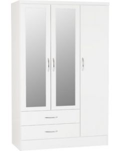 Nevada 3 Door 2 Drawer Mirrored Wardrobe White