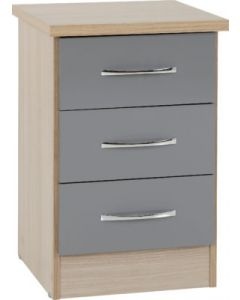 Nevada 3 Drawer Bedside Chest