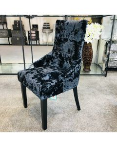 Venice Premium Crushed Velvet Black Dining Chair