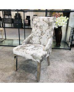 Venice Premium Crushed Velvet Silver Dining Chair