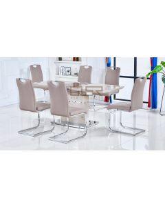 Casablanca Cappuccino Extending Dining Table + 6 Milan Chairs