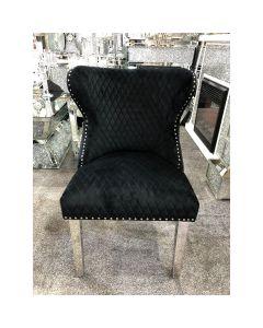 Valentino Black Velvet Dining Chair