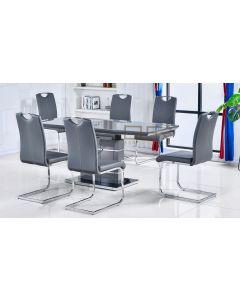 Casablanca Grey Extending Dining Table + 6 Milan Chairs