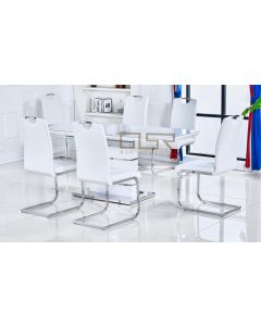 Casablanca White Extending Dining Table + 6 Milan Chairs