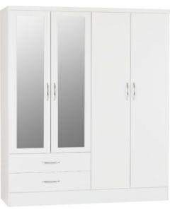 Nevada 4 Door 2 Drawer Mirrored Wardrobe White