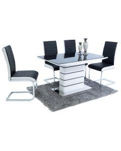 New York Dining Set (4 Black & White New York Chairs)