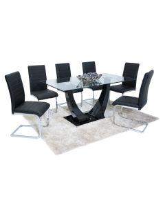 Oslo Dining Set (6 Black New York Chairs)