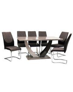 Atlantis Dining Table + 6 Atlantis Chairs (Marble Effect)