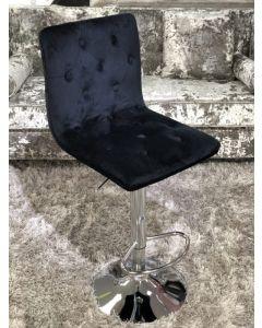 Elegant Black Fabric Bar Stool