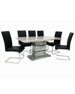 Rose Dining Set + 6 New York Chairs (Marble Effect)