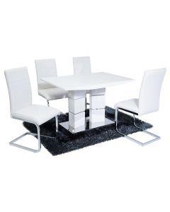 Vegas Dining Set (4 White New York Chairs)