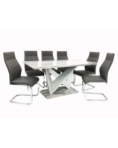 San Francisco Dining Table + 6 Berlin Chairs (Marble Effect)