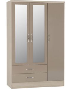 Nevada 3 Door 2 Drawer Mirrored Wardrobe Oyster