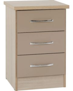 Nevada 3 Drawer Bedside Chest Oyster