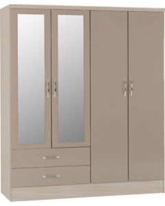 Nevada 4 Door 2 Drawer Mirrored Wardrobe Oyster